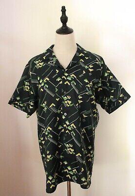 1970s Mens Shirt Styles – Vintage 70s Shirts for Guys VINTAGE 1970's ~ Mens  Dark Green Yellow Mod Geometric Short Sleeve Shirt M $23.24 AT vintagedancer.com