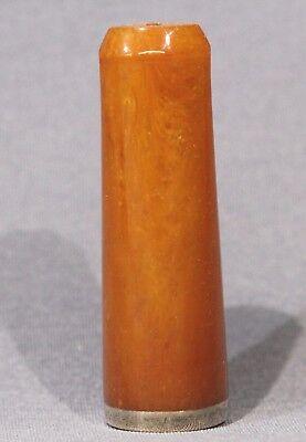 Bernstein Zigarrenspitze mit Silbermontierung NEU UNGERAUCHT unbenützt
