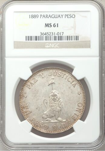 SCARCE 1889 Paraguay Peso silver NGC MS61 BU UNC Uncirculated reales Republic