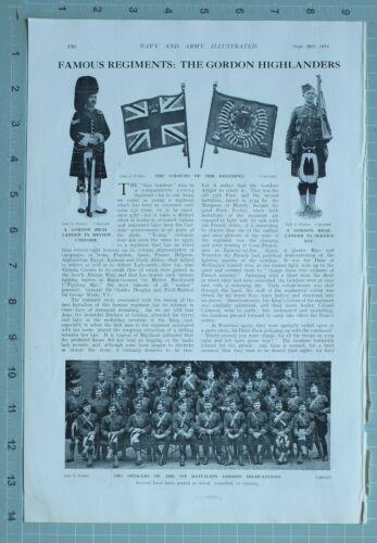 1914 WW1 PRINT GORDON HIGHLANDERS COLOURS 1st BATTALION MACHINEGUN SECTION