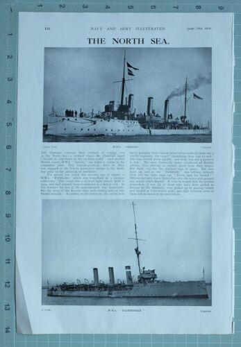 1914 WW1 PRINT NORTH SEA ~ H.M.S SPEEDY H.M.S PATHFINDER