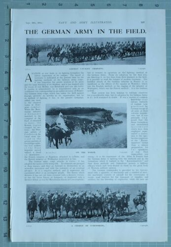 1914 WW1 PRINT GERMAN ARMY IN THE FIELD CAVALRY CUIRASSIERS TRENCH BATTLE LINE