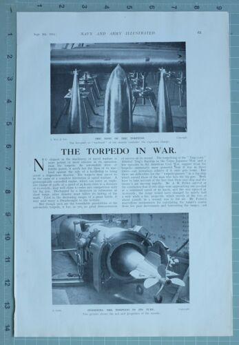 1914 WW1 PRINT TORPEDO IN WAR EXPLOSION BATTLESHIP TORPEDO NETS