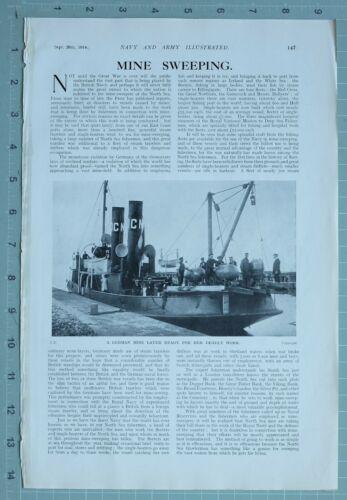 1914 WW1 PRINT MINE SWEEPING GERMAN MINE LAYER READY FOR WORK