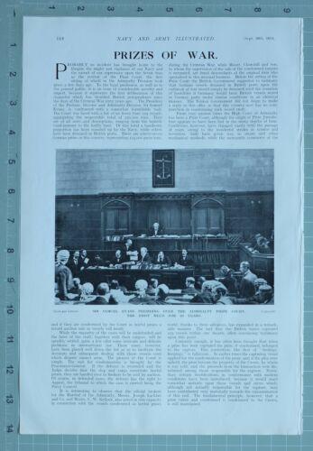 1914 WW1 PRINT SIR SAMUEL EVANS ADMIRALTY PRIZE COURT