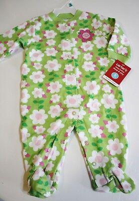 Carter's Pajama Sleeper Size 6 Months Green Pink Flowers Lightweight NEW
