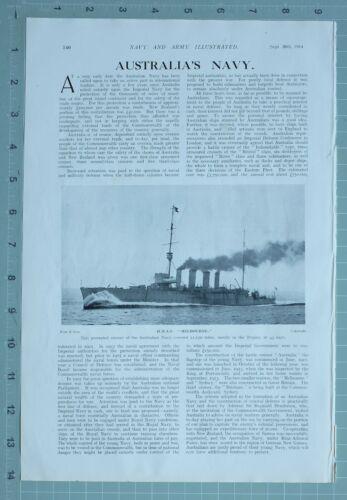 1914 WW1 PRINT AUSTRALIAS NAVY H.M.A.S MELBOURNE