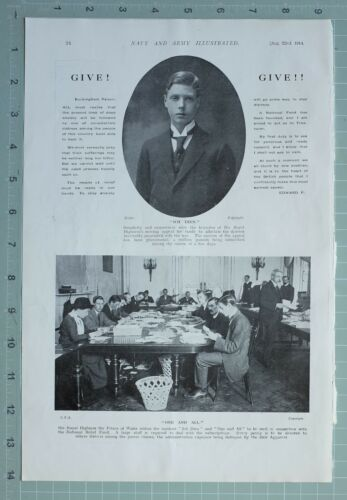 1914 WW1 PRINT NATIONAL RELIEF FUND APPEAL FUNDS STAFF COLLECTING SUBSCRIPTIONS