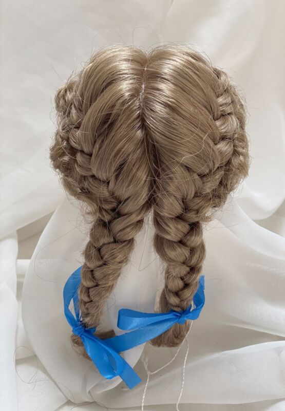 "8/9"" Pigtails Bows Blonde Doll Wig Reborn OOAK BJD Bisque Repair JENNIFER"