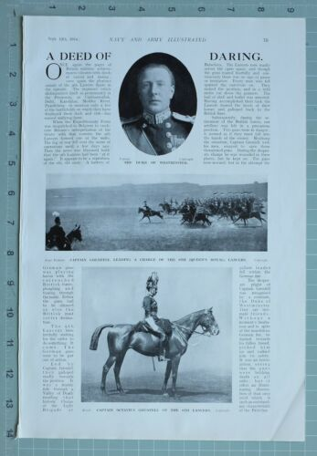 1914 WW1 PRINT DUKE OF WESTMINSTER CAPTAIN GRENFELL QUEENS ROYAL LANCERS