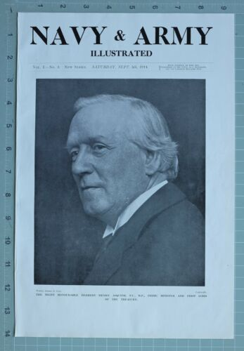 1914 WW1 PRINT HERBERT HENRY ASQUITH PRIME MINISTER & 1st LORD OF TREASURY