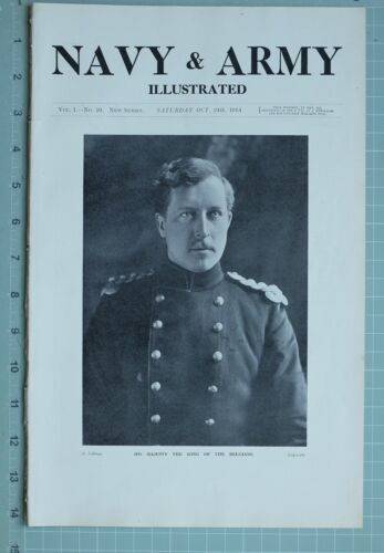 1914 WW1 PRINT HIS MAJESTY THE KING OF THE BELGIANS