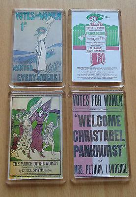 Suffragettes Magnets x 4 Pankhurst Women's History Votes For Women Rebel WSPU