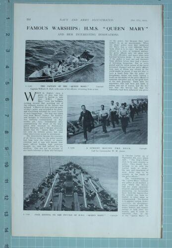 1914 WW1 PRINT WARSHIP HMS MARY CAPTAIN HALL COMMANDER JAMES SAILORS HOSPITAL