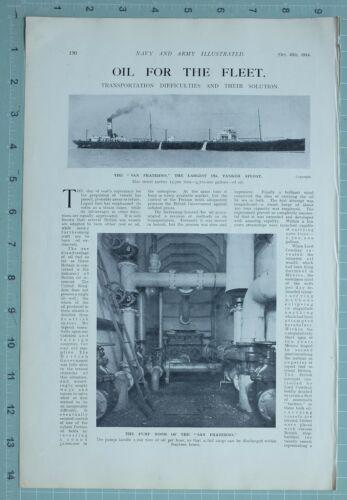 1914 WW1 PRINT SAN FRATERNO OIL TANKER PUMP ROOM INTERIOR OIL FOR FLEET