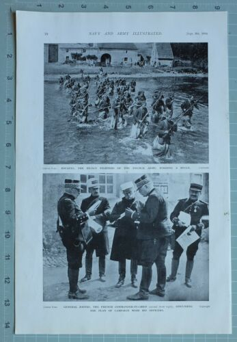 1914 WW1 PRINT ZOUAVES FRENCH ARMY FORDING RIVER GENERAL JOFFRE & OFFICERS