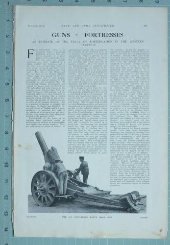 1914 WW1 PRINT GUNS & FORTRESSES FORTIFICATION WESTERN CAMPAIGN KRUPP SIEGE GUN