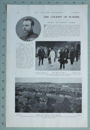 1914 WW1 PRINT GENERAL LEMAN CITY OF LIEGE CITADEL ADVANCE GERMAN ARMY NAMUR