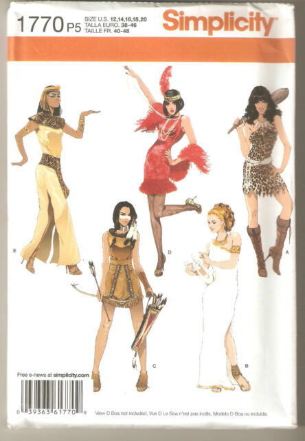 Simplicity Pattern 1770 / 0793 Costumes Eygptian Flapper Indian Cavewomen 12-20