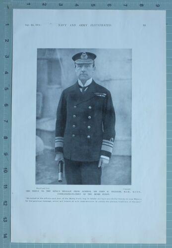 1914 WW1 PRINT ADMIRAL SIR JOHN JELLICOE COMMANDER IN CHIEF OF HOME FLEET