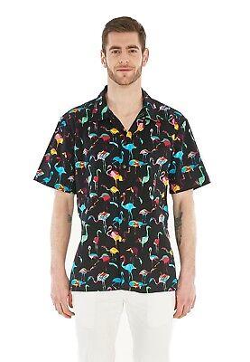 Hawaii Hangover Men's Hawaiian Shirt Aloha Shirt Flamingo Party Black (Hawaiian Shirt Party)