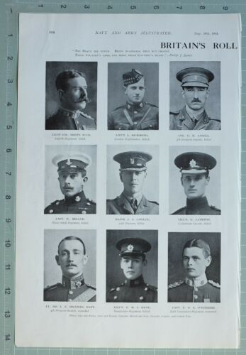 1914 WW1 PRINT BRITAINS ROLL OF HONOUR MAJOR CAWLEY COL ANSELL ROCHMOND LAMBTON
