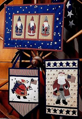 3 STAR-SPANGLED SANTAS CHRISTMAS SCRAP & APPLIQUE VINTAGE WALL QUILT PATTERNS