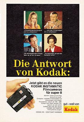 3w2566/ Alte Reklame von 1968 - KODAK INSTAMATIC Filmcameras für Super8