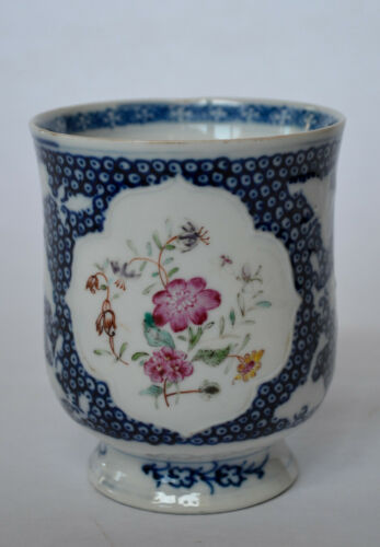 Chinese Export Footed Mug with Famille Rose Decoration