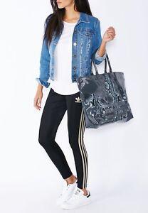 8c1bd7139078 Womens Ladies Adidas Originals Shopper Beach Sports Gym Bag Grey Snake