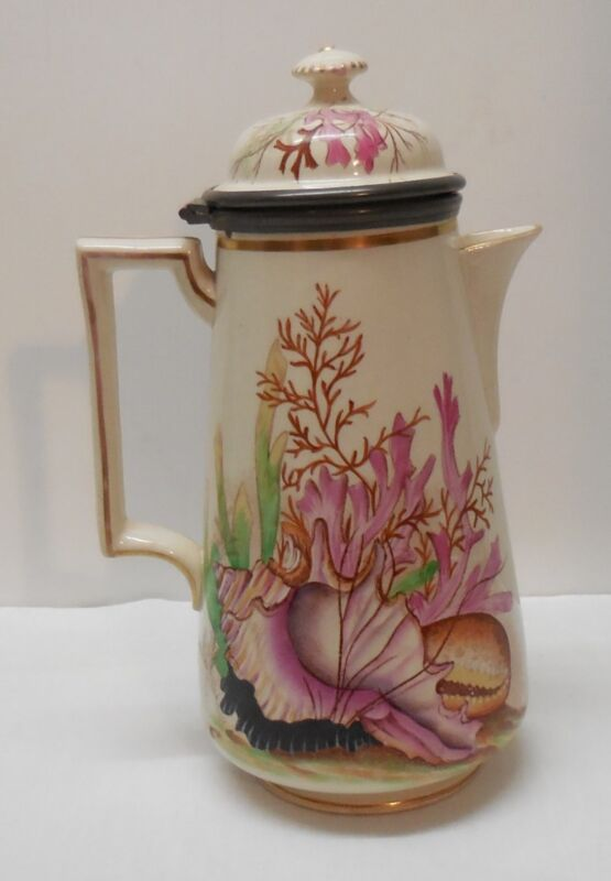Teapot with Hinged Lid Footed with Shell Coral Under Sea Design Ashworth Antique