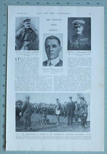 1914 WW1 PRINT SIR GRIERSON F. E. SMITH NEWS BUREAU PRESENTATION OF COLOURS