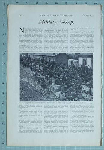 1914 WW1 PRINT BRITISH TROOPS SNATCHING REST AT MAIN STREET OF FRENCH TOWN