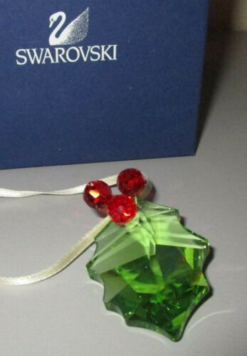Swarovski Crystal Holly Leaf w/ Berries Christmas Ornament 5103222 New + Box