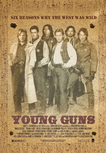 """Young Guns movie poster (a) - 11"""" x 17"""" - Kiefer Sutherland, Charlie Sheen"""