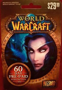 World of Warcraft pre paid 60 day subscription card