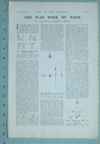 1914 WW1 PRINT ARTILLERY COMMUNICATES WITH AIR CRAFT FINDING RANGE GERMAN FORCES