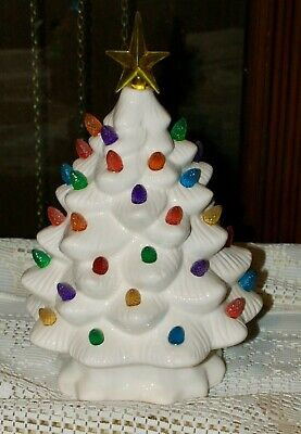 """""""AA"""" Battery Operated Light-Up Ceramic 10 1/2"""" White Christmas Tree With Star"""