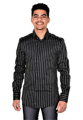 Versace Collection Trend Mens Cotton Dress Shirt V300014 Black IT 38 US 15