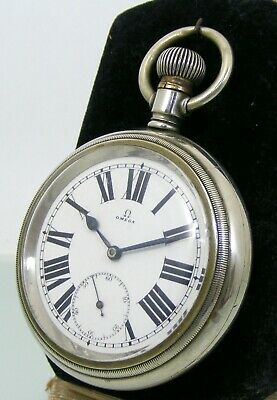 Vintage Omega raylway, white metal case Pocket Watch, enamel original dial