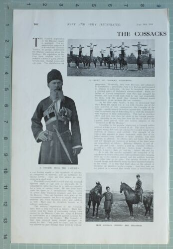 1914 WW1 PRINT COSSACKS OF THE CZAR EXERCISING HORSES OFFICERS