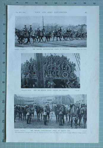 1914 WW1 PRINT BRITISH EXPEDITIONARY FORCE BOULOGNE BRITISH TROOPS EMBARKATION