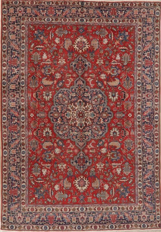 Antique Geometric Oriental Area Rug Wool Hand-Knotted Traditional Carpet 8x11