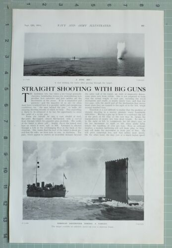 1914 WW1 PRINT TORPEDO DESTROYER TOWING TARGET ~ PROJECTILE APPARATUS LOADING