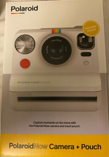 Polaroid Now Bundle - White Camera and Red Pouch