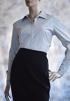 NWOT MERONA Sz M  Blouse Shirt Button Down Cotton Blend Gray White Striped