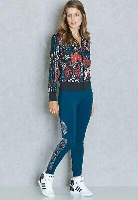 Women's Adidas Floral Linear Trefoil Leggings Navy/Multicolour