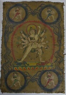 "Antique Tibetan painted Thanka w/Kali & Shakti ?  18th/19th c.?  58"" x 38"""