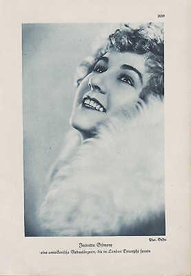 Werbung 1928, Bildnis Portrait Fotografie ameri. Revue-Tänzerin Jeanette Gilmore
