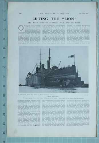 1914 WW1 PRINT THE LION LIFTING OUT OF WATER FLOATING DOCK